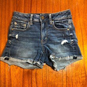 AE super stretch distressed jean shorts